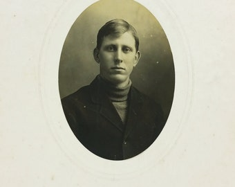 Early 1900s Man in Turtleneck and Wool Jacket, Young Man Oval Photograph Card