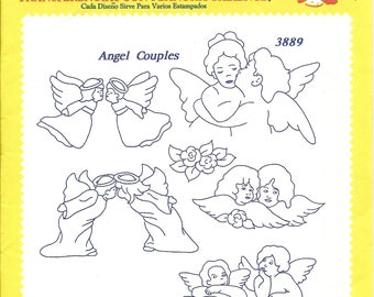 Aunt Martha's Angel Couple Hot Iron Transfer #3889, NEW in Package Embroidery Pattern