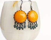 Butterscotch Yellow Chandelier Dangle Earrings Mustard Yellow Dark Blue Dangles Colorful Earrings