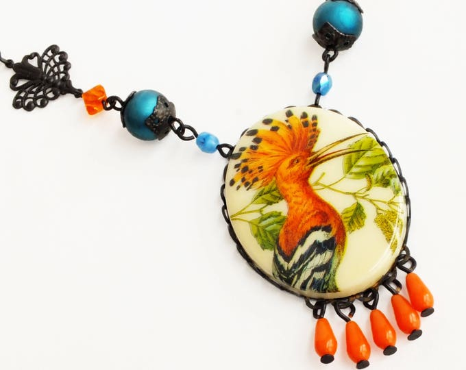Bird Cameo Necklace Large Vintage Bird Pendant Necklace Orange Hoopoe Jewelry Summer Statement Jewelry