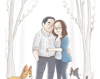 Personalized Family Portrait Cartoon (Cute soft style) -  Wedding gift, Custom portrait illustration, Custom Portrait Couple, pet portrait