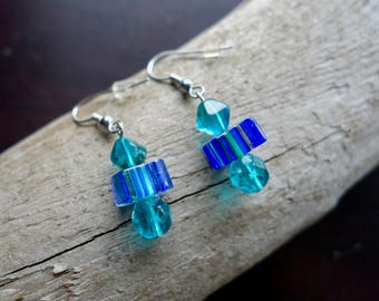 Elegant Glass Lampwork Bead Earrings | Teal Blue Dangle with Silver Accents
