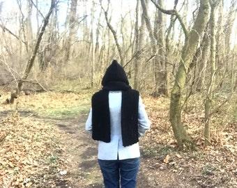 Black crochet scoodie - black hooded scarf - crochet hooded scarf - long scarf with hood - black scarf with hood - long black scarf