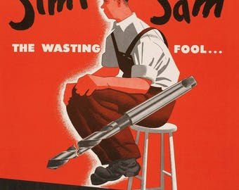 WW II Simple Sam Public Service Poster - Workshop Garage Decor - Garage Poster - Vintage Safety Poster - Dunce Cap Poster - Tool Safety