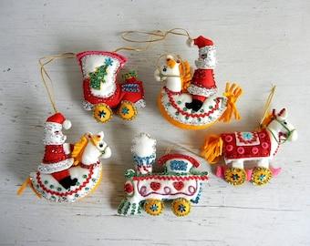 Vintage Christmas Ornaments   Handmade Felt & Sequin Ornaments   Trains Santa Hobby Horse