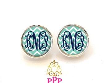 Monogram Earrings Mint Chevron Stud Earrings Style 628