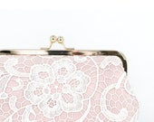 Bridal Blush Pink and White Lace Clutch 8-inch L'HERITAGE | Bridal Gift | photo Clutch | Bridesmaids Present