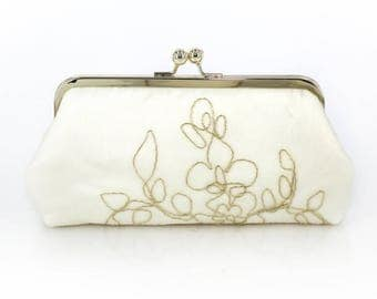 Ivory Bridal Clutch with gold thread + gold frame | Bridal Clutch Gift |  Ready to Ship