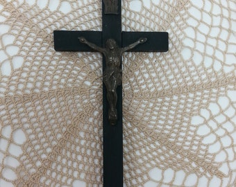 Vintage Real Ebony Wood Priest Nun Crucifix Germany Ebony Wood Cross Crucifix