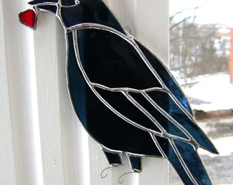 Crow Raven Stained Glass Primitive Folkart Heart Birds Gothic Halloween Pagan Wicca Yule Christmas Poe Canadian Handmade Original Design©