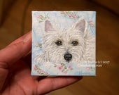 Itty Bitty Westie...Miniature Painting in OIL by LARA ACEO 3x3 Mini Tiny Dog Art West Highland Terrier