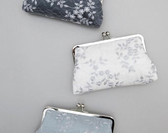 Lace Clutch | Wedding Clutch Purse | Gray Bridesmaid Clutch | Personalized Bridesmaid Gift | Wedding Party [Set of 3 Antoinette Clutches]