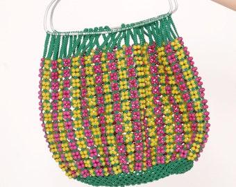 Vintage 70s BEADED Bag Open WEAVE Boho Bag Beaded NET Bag Hippie Bag