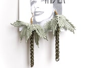 Lace earrings - Palmtrees - Sage green with bronze