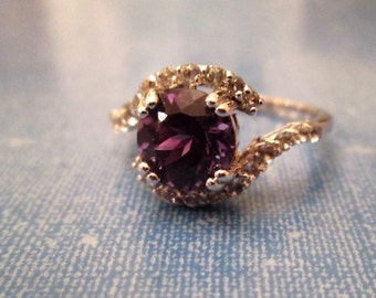 RING  - Deep - AMETHYST - Swirling  CZs - Estate sale - 925 - Sterling Silver - size 9 purple 384