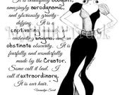 Extraordinary- African American Natural Hair Fashion Illustration Black and White Print