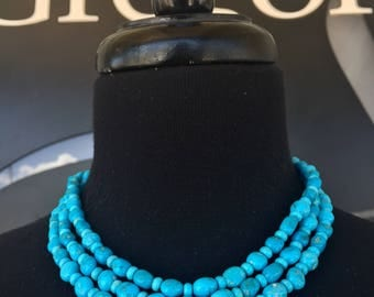 Santa Fe Sky Long Necklace or Wrist Wrap Sleeping Beauty and Kingman Turquoise and Coral Southwestern Style