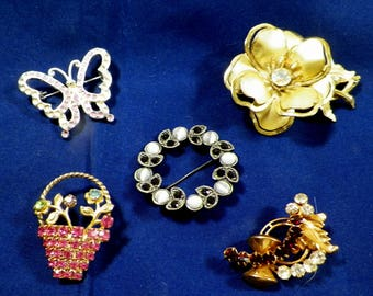 Vintage Brooches, Lapel Pins, Scatter Pins-Lot of 5, Good Condition, Rhinestones, Sparkle & Glam,Costume Jewelry