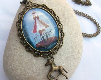 Carousel Necklace - Horse Charm Necklace - Bronze Cameo Necklace