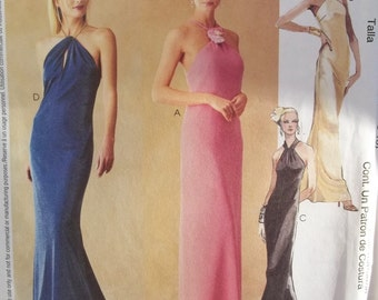 McCall's 3222 Sewing Pattern, Misses' Lined Halter Style Formal Dress, Long Evening Gown with Sheer Overlay, Prom or Ball Dress Size 4 - 10