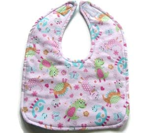 Girl Dinosaurs Flannel Baby Bib - Cute Dinosaurs Bib - Girly Dinos Baby Bib - Ready To Ship