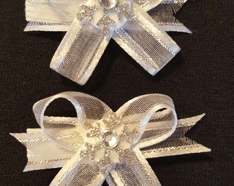 Sheer White & Rhinestone Snowflake: Snap N Go Dog Hair Bow