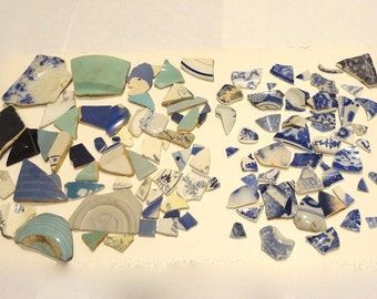 Lot Of 104 Pieces Of Sea Pottery Some All Blue Some Blue And White Various Shapes & Sizes Hand Collected From Sausalito CA Beach