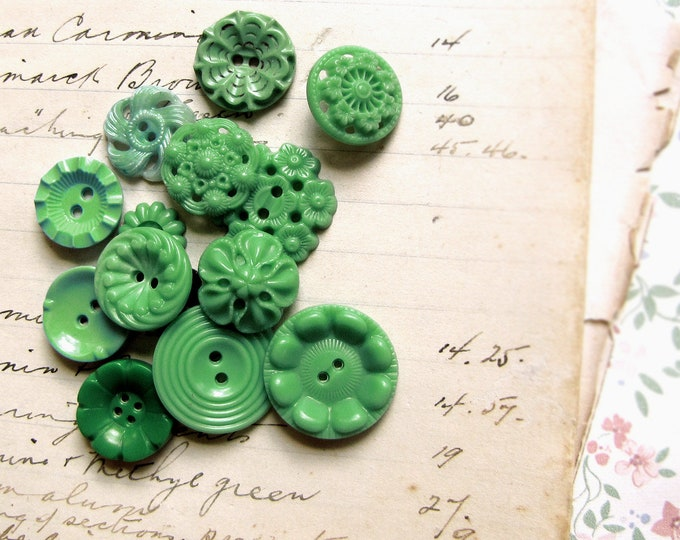 Mixed lot of 1950s 1960s celluloid flower buttons in grassy greens