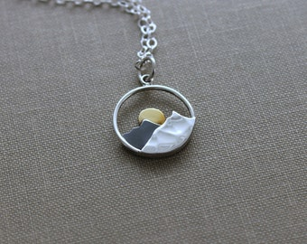 Mountain with Sun Charm Necklace, 925 Sterling Silver and bronze Jewelry - Mixed Metal - Minimalist - Darkened Silver - Sunrise - Sunset