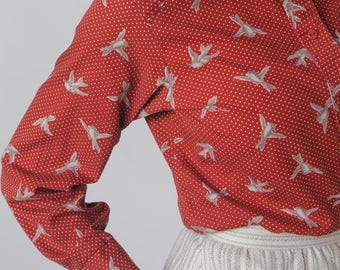 rare bird -- vintage bird print cotton button-up shirt XS/S