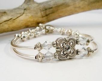 Women's Double Strand Silver Bracelet, Rhinestone Bracelet, Cuff Bracelet, Swarovski Crystal Bracelet, Silver bracelet, Handmade Jewelry