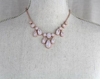 Rose Gold Bridal necklace, Wedding jewelry, Crystal Wedding necklace, Simple backdrop necklace, Crystal Bridal Earrings, Rose gold jewelry