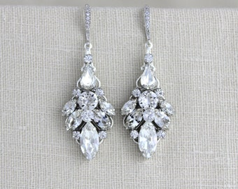 Crystal Bridal earrings, Statement Wedding earrings, Wedding jewelry, Art Deco Bridal earrings, Swarovski Chandelier earrings, Rhinestone