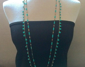 Bohemian -- Long Turquoise Enamel and Brass Bead Double-Strand Necklace