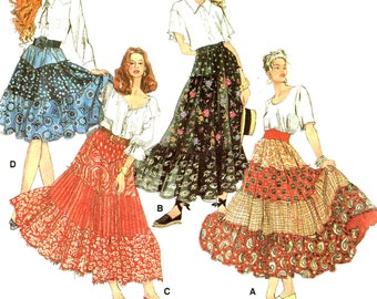 Boho Ruffled Skirt Sewing Pattern Simplicity 8624 Misses Hippie Bohemian Tiered Skirt Plus Size Large, XL Cut Complete
