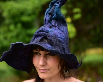 Felt Melted Witches Hat-Witch Hat-Wool Hat-Midnight Blue Hat-Pixie Hat-Festival Wear-Witch Costume-Woodland-Fantasy OOAK