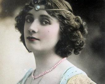 Antique theatre photo postcard, Antique French stage star photo postcard, Renee desprez, Antique head jewelry photo postcard