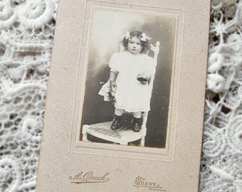 Antique large cabinet card, Antique French cabinet card, Pretty French girl with toys real photograph, Victorian girl photo, Antique CDV