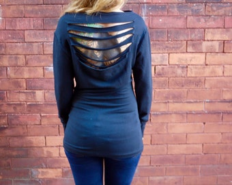 Eco Open Back Long Sleeve Sweater|Long Sleeve T Shirt|Open Back Shirt |Long Sleeve Shirt|Black Shirt|Stretch Top|Open Back Top|Eco Tunic
