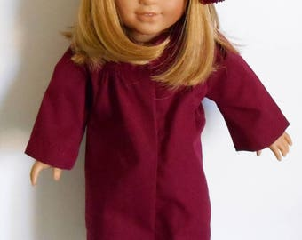 """Burgundy graduation cap and gown fits 18"""" dolls like American Girl or boy"""