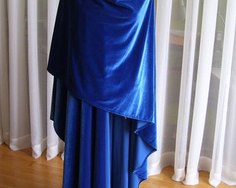 Royal blue velvet cloak - full oval - YOUR LENGTH