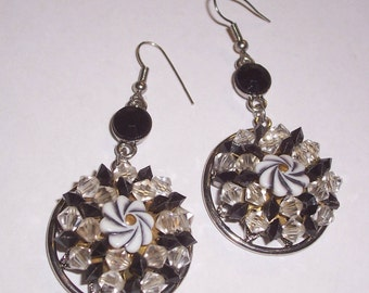 Upcycled 1950s Black and White Earrings - Pierced