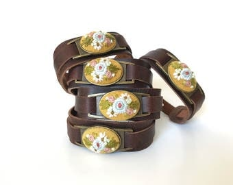 Hand Embroidered Bracelet   Leather Cuff, Floral, Hand Stitched Jewelry, Keepsake, Bouquet, Feminine, Vintage Inspired, Genuine Leather