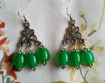 Bakelite Chandelier Earrings - Green 2