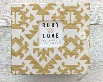 BABY BOOK   Yellow Pawnee Tribal Baby Book   Ruby Love Modern Baby Memory Book