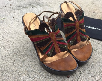 The Vintage Dolce and Gabbana Suede Leather Butterfly Made In Italy Platform Wedges Heels Size 7