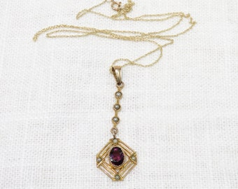 Edwardian 10k Gold Lavalier Necklace with Amethyst and Seed Pearls on 10k Gold Chain