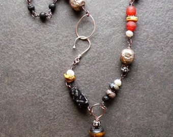 Tribal Primitive Fossil Orthoceras Pendant Necklace, Black Sterling Silver Glass Fiber Pearls Mixed Elements Necklace