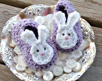 Lavender Baby Bunny Shoes, Crochet Bunny Slippers, Easter Baby Girl Bunny Baby Shoes, Baby Bunny Ears, Baby Mary Janes