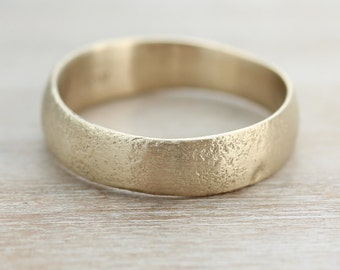 6mm Wide Ancient Rustic Textured Men's Wedding Band - Primitive Ring, Rustic Ring, Soft Textured Ring, Viking Ring, Gold or Palladium